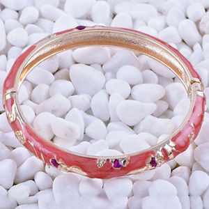 Jewelry - Lovely Gold Filled Orangish-red Cloisonné Bangle